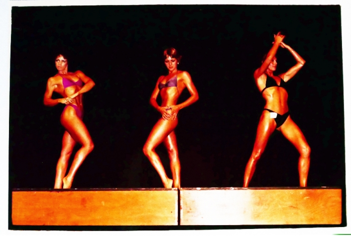Women posing at Pan Pacific-1981-Easter first womens Body Building comp NZ