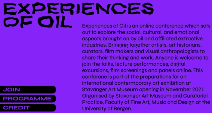 The conference web site for Experiences of Oil
